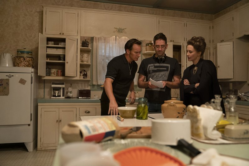 """(l-r) PATRICK WILSON, Director MICHAEL CHAVES and VERA FARMIGA and on the set of New Line Cinema's horror film """"THE CONJURING: THE DEVIL MADE ME DO IT,"""" a Warner Bros. Pictures release.   Photo by Ben Rothstein"""